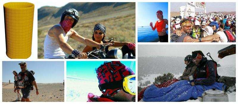 Collage of an Original Buff® used in Motorcycling, Jogging, Marathon des Sables, the desert, in the snow, snowboarding
