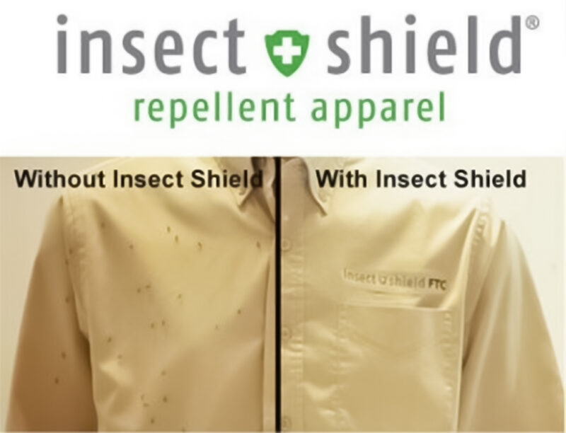 A composition showing a shirt on the left without Insectshield treatment and one on the right with Insectshield treatment. The shirt on the left has lots of mosquitos on it. The shirt on the right none.