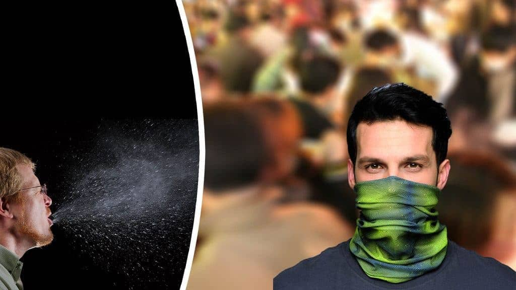 """Photomontage: Front left image This 2009 photograph captured a sneeze in progress, revealing the plume of salivary droplets as they are expelled in a large cone-shaped array from this mans open mouth, thereby, dramatically illustrating the reason one needs to cover his/her mouth when coughing, or sneezing, in order to protect others from germ exposure. 2009 Brian Judd source: James Gathany / CDC Public Health Image library ID 11162 / public domain Front right image This is a """"How-to-wear"""" image for the official 2011 Buff® catalogue 2011 Original Buff, S.A. Spain source: buff.eu / copyrighted - only to be used for the promotion of Original Buff® products Background image Crowded marketplace 2006 James Creegan source: https://www.flickr.com/photos/lostseouls/133418446 / Attribution 2.0 Generic (CC BY 2.0)"""