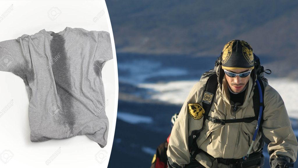 Photomontage Left image Stock photo. A grey t-shirt with sweat stains under sleeves and through the torso. © Mark Deibert 123rf.com Right Image A participant of an Adventure Race in Patagonia hikes up a mountain in full alpine gear. He is wearing an Original Buff® as beanie. You can see sweat on his face but the Buff® looks dry. © Unknown. Released by Original Buff S.A for the promotion of Buff® products.