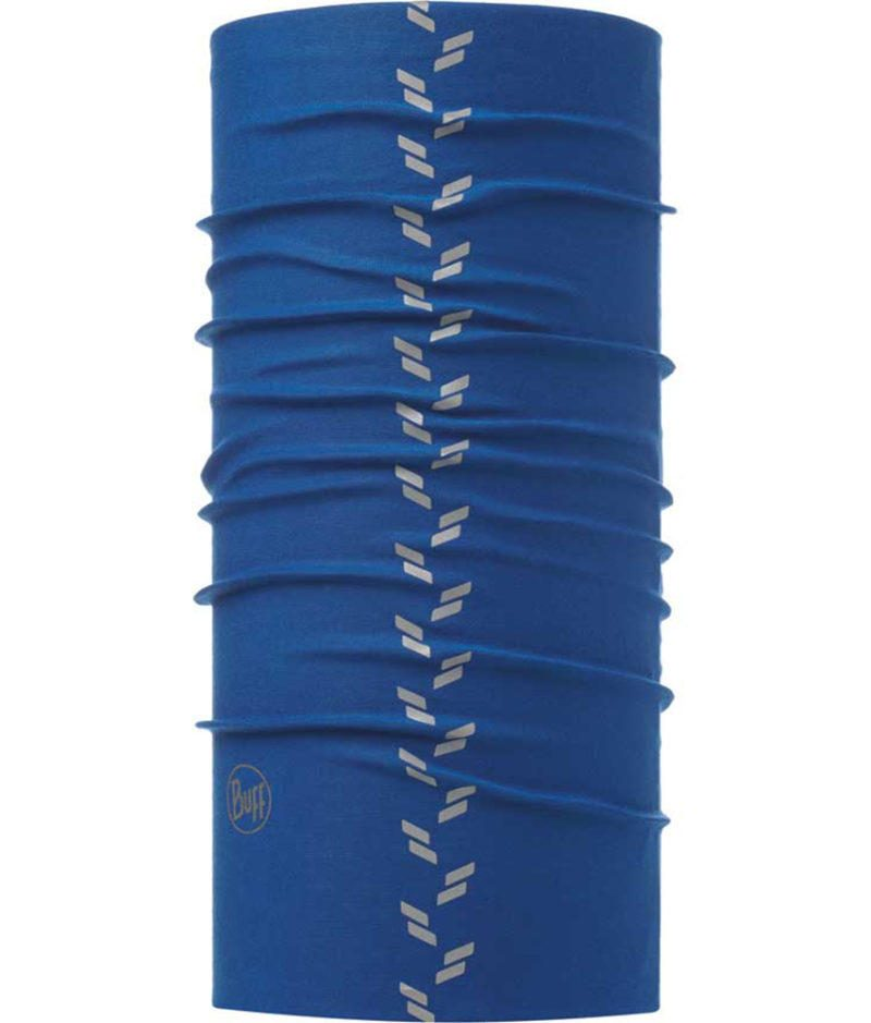 """A studio photo of the Reflective Buff® design """"Blue Skydiver"""". It's a solid blue colour with reflective elements going down in a tyre tread pattern. Source: buff.eu"""