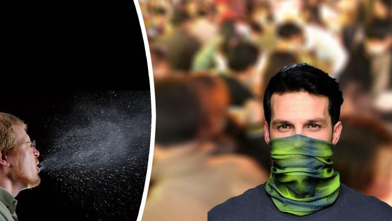 "Photomontage: Front left image This 2009 photograph captured a sneeze in progress, revealing the plume of salivary droplets as they are expelled in a large cone-shaped array from this mans open mouth, thereby, dramatically illustrating the reason one needs to cover his/her mouth when coughing, or sneezing, in order to protect others from germ exposure. 2009 Brian Judd source: James Gathany / CDC Public Health Image library ID 11162 / public domain Front right image This is a ""How-to-wear"" image for the official 2011 Buff® catalogue 2011 Original Buff, S.A. Spain source: buff.eu / copyrighted - only to be used for the promotion of Original Buff® products Background image Crowded marketplace 2006 James Creegan source: https://www.flickr.com/photos/lostseouls/133418446 / Attribution 2.0 Generic (CC BY 2.0)"