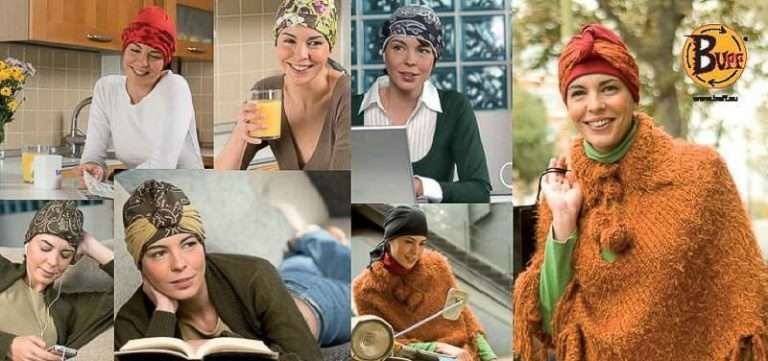 A scan of the outside of a Buff® brochure for chemo patients. Collage of women wearing a Original Buff® during their chemotherapy. Source: buff.eu. Distributed for the promotion of the Original Buff® in the oncology market.
