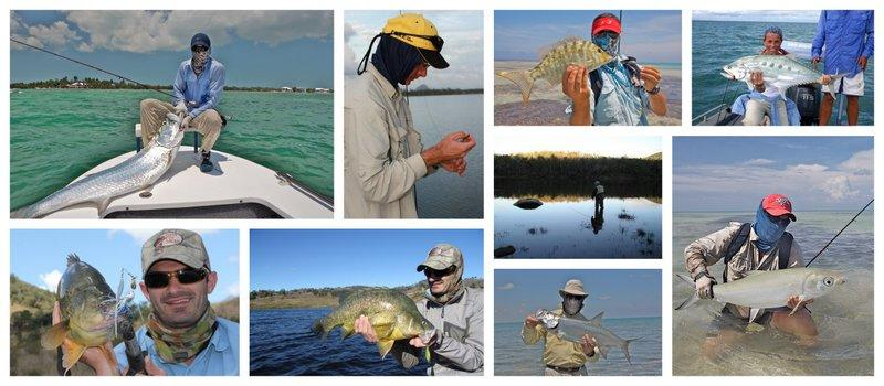 Collage showing the global fishing community use Buff®