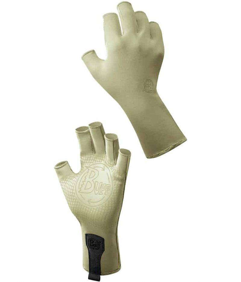 "A Studio image of the Water Glove Design ""Light Sage"". It shows the palm and back side as a montage. Source: buff.eu"