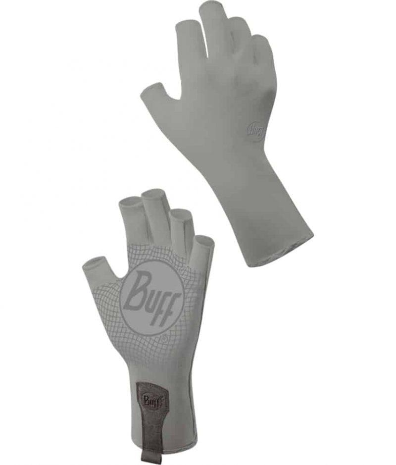 """Studio Montage of the Water Glove Design """"Light Grey"""". It shows the glove from the palm and the backhand side. Source: buff.eu"""